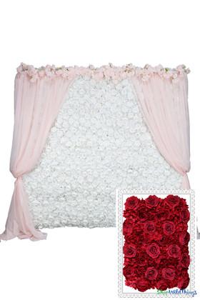 Flower Wall Kit - 8' x 8' Portable Backdrop Kit - Rich Red Roses, Peonies & Hydrangeas