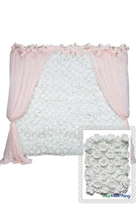 Flower Wall Kit - 8' x 8' Portable Backdrop Kit - Pure White Roses & Hydrangeas