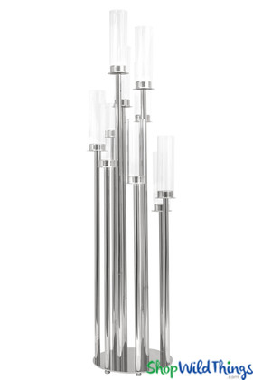"""Silver Stem Cluster Candelabra 10 Glass Cylinders - 42"""" Tall Round Base"""