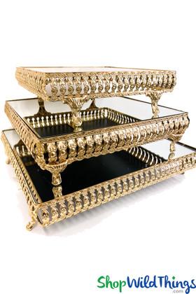Mirror Top Cake Stand / Riser - Square Set of 3 - Gold Metal