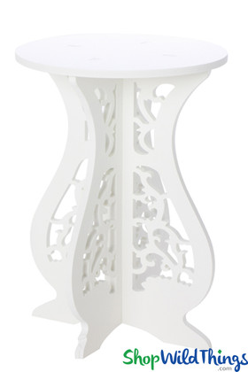 White Laser Cut Wood Pedestal Table, Decorative Accent Side Table by ShopWildThings.com