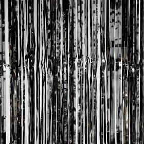 Metallic Foil Fringe Curtain - Black 8'