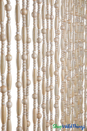"""Wooden Bead Curtain """"Sunnyvale Natural"""" 35"""" x 78""""- 31 Strands"""