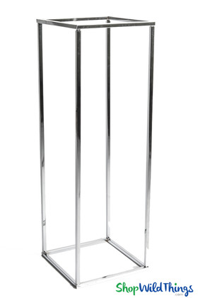 Open Frame Floral Centerpiece Display Set of 4, Silver Harlow Stands, Floor Decor or Centerpiece Vases by ShopWildThings.com