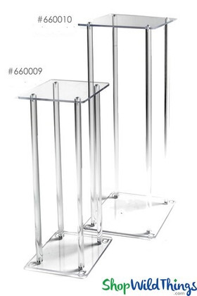 """Floral & Centerpiece Riser """"Brooklyn"""" - Clear Acrylic Harlow Stand - 10x10x33"""""""
