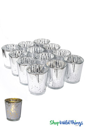 "Mercury Glass Candle Holders ""Josie"" Silver  Set of 12"