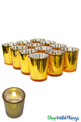 "Mercury Glass Candle Holders ""Josie"" Gold  Set of 12"