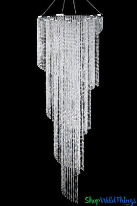 "Chandelier ""Chrissy"" Diamonds Spiral Crystal Iridescent 6'H x 2'W - 4 Tiers"