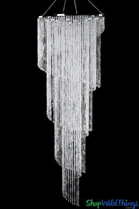 Spiral Swirling Huge Chandelier ShopWildThings Crystal Beaded Event Decoration