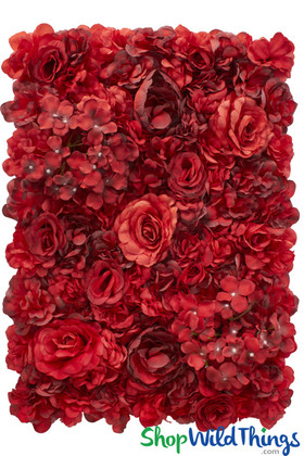 Red Flower Wall with Hydrangeas and Roses ShopWildThings.com