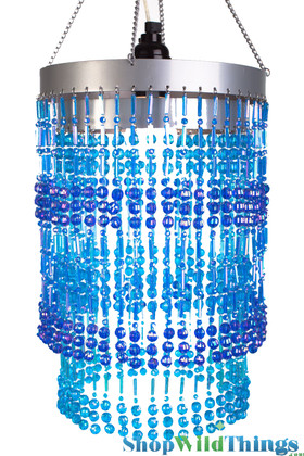"Chandelier  ""Ashley""  2-Tier Hanging Lamp, Blue 8 1/2"" x 12"""