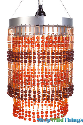 "Chandelier  ""Ashley""  2-Tier Hanging Lamp, Amber Brown 8 1/2"" x 12"""