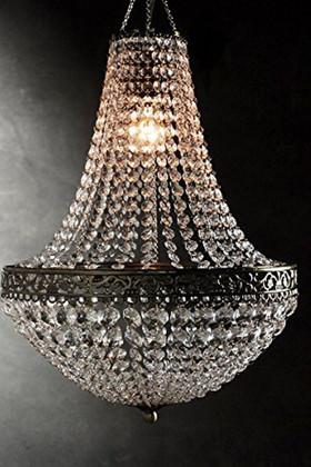 "Chandelier ""Renaissance"" - Empire Chandelier Large Beads & Ornate Metal Trim - 18"" x 14"" Empire Swag Style"