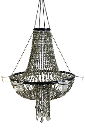 Candle Chandelier Empire Beaded Ball Chain - 6 Cup Candle Holder