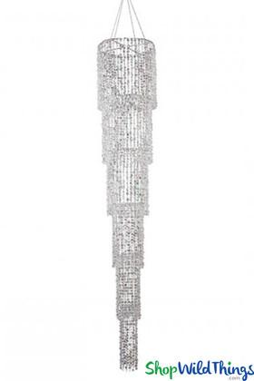 Chandelier Cascadia - 6 Tiers Silver Diamante Duo - 7 Feet Long!