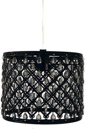 "Chandelier Black Drum with Smoke Gray Beads & Light Kit 8"" x 6.5"""