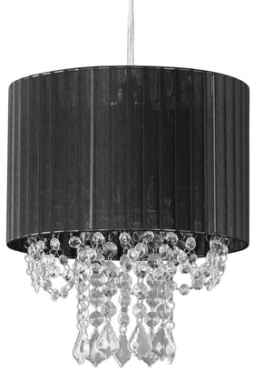 """Chandelier """"Juliette"""" Black Fabric Shade and Crystals w/Light Kit 12"""" x 13"""""""