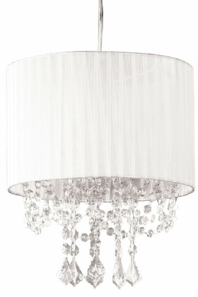 """Chandelier """"Juliette"""" White Fabric Shade and Crystals w/Light Kit 12"""" x 13"""""""