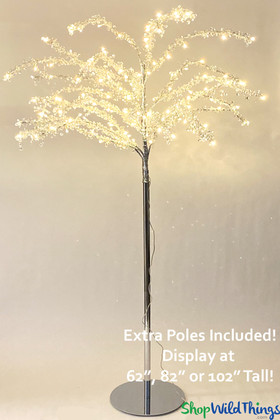 "Crystal Beaded Warm White LED Tree ""Enchantment"" Adjustable up to 8.5'"