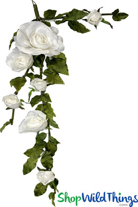 Large Silk Rose Garland | Artificial White Wedding Flowers | Hang or Tabletop | ShopWildThings.com