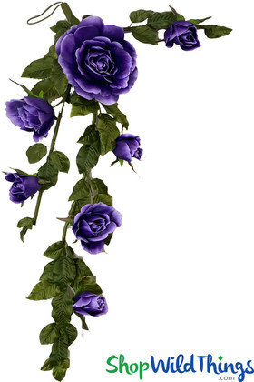 Large Silk Rose Garland | Artificial Purple Wedding Flowers | Hang or Tabletop | Indian Wedding | ShopWildThings.com