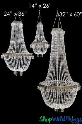"Chandelier ""Tillie XL"" 32""W x 60""L Acrylic Crystal Beads & Ornate Metal Trim"