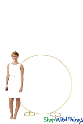 Round Hoop Metal Backdrop Stand ShopWildThings Gold Decoration