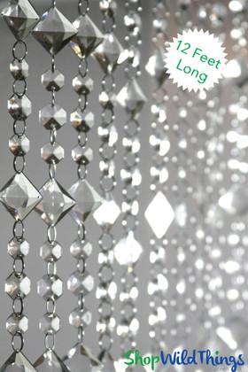 """Crystal Beaded Curtains """"Aces & Eights"""" - 12 Feet Long"""