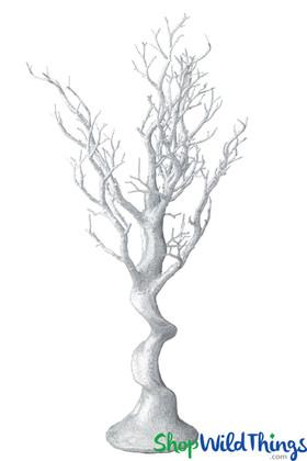 "Manzanita Tree Centerpiece, Silver Glitter - 29"""