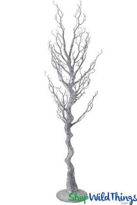 "Manzanita Tree, Floor or Centerpiece, Silver Glitter - 56"""