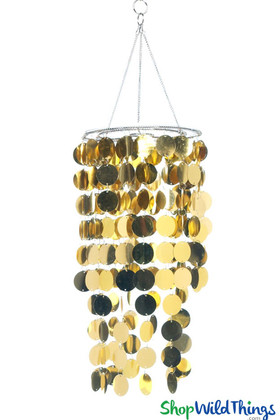 "Chandelier, Spangles (Fireproof PVC) - Gold - 8"" x 18"""