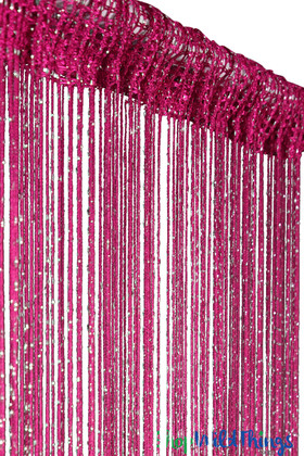 Fuchsia Pink String Curtain with Metallic Thread 6.5' Long Fringe Panel for Doors and Windows by ShopWildThings.com