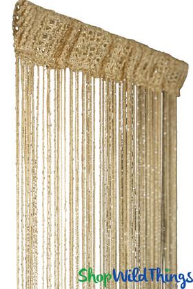 String Curtain - Honey Blonde w/Metallic Thread - 3' x 6.5'