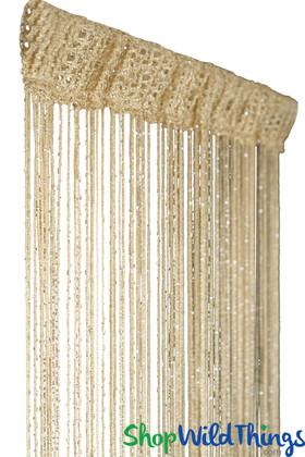 String Curtain - Light Coffee w/Metallic Thread - 3' x 6.5'