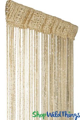 Light Coffee String Curtain with Metallic Thread 6.5' Long Fringe Panel for Doors and Windows by ShopWildThings.com