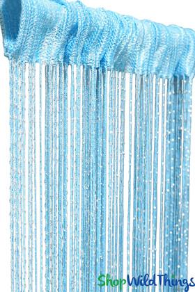 Aqua Blue Turquoise Metallic Party Fringe String Curtains ShopWildThings.com