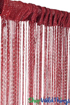 Dark Red Wine String Curtain with Metallic Thread 6.5' Long Fringe Panel for Doors and Windows by ShopWildThings.com