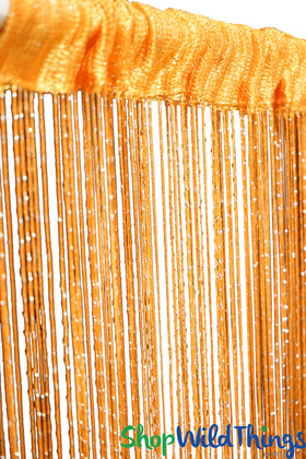 Tangerine with Metallic Thread String Curtain 6.5' Long Fringe Panel for Doors and Windows by ShopWildThings.com