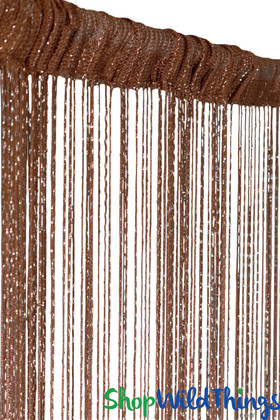 Auburn String Curtain with Metallic Thread 6.5' Long Fringe Panel for Doors and Windows by ShopWildThings.com