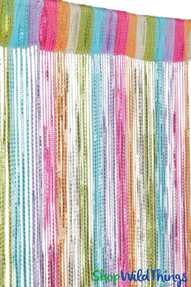 String Curtain - Neon Multi-Color Rainbow w/Metallic Silver Strands - 3' x 6.5'