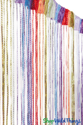 Multi-Color Rainbow String Curtain Fringe Panel with Metallic Silver Strands, 6.5Ft Long Curtain by ShopWildThings.com