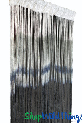 Blue Gray Ombre String Curtain Fringe Panel for Doors and Windows, 7' Long Curtain by ShopWildThings.com