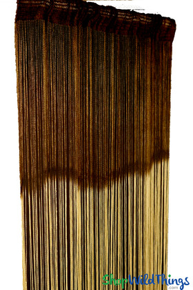 Dark Brown Ombre Stripe String Curtain Fringe Panel for Doors and Windows, 7' Long Curtain by ShopWildThings.com