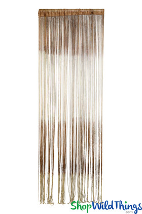 Brown Cream Ombre Stripe String Curtain Fringe Panel for Doors and Windows, 7' Long Curtain by ShopWildThings.com