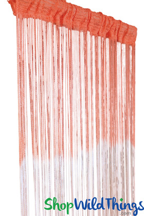 Coral Pink String Curtain Fringe Panel for Doors and Windows, 7' Long Ombre Curtain by ShopWildThings.com