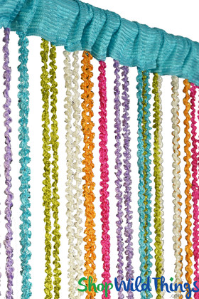 """Rainbow Braided Curtain with Metallic Flecks for Walls, Doors and Windows,  6' 8"""" Long Decorative Curtain by ShopWildThings.com"""