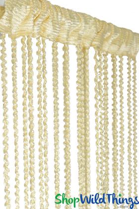 "String Curtain  - Cream Braided w/Metallic Flecks 38"" x 6' 8"""
