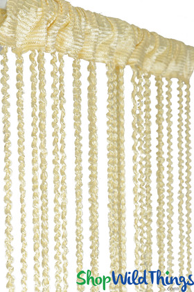 """Cream Braided Curtain with Metallic Flecks for Walls, Doors and Windows,  6' 8"""" Long Decorative Curtain by ShopWildThings.com"""