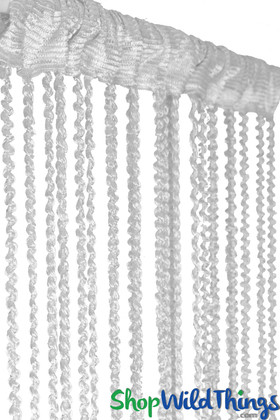 White Braided Curtain with Metallic Flecks for Walls, Doors and Windows,  6.5' Long Decorative Curtain by ShopWildThings.com