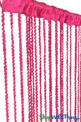 "String Curtain  - Hot Pink Braided w/Metallic Flecks 38"" x 6' 10"""